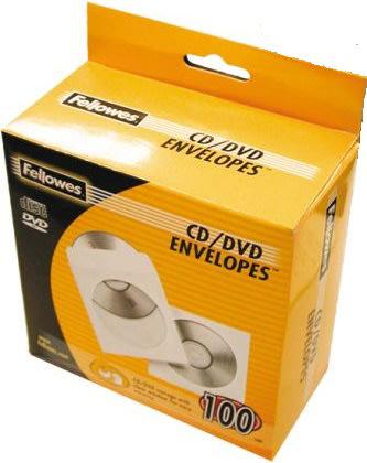 Fellowes Cd/dvd papir lommer, 100 stk.