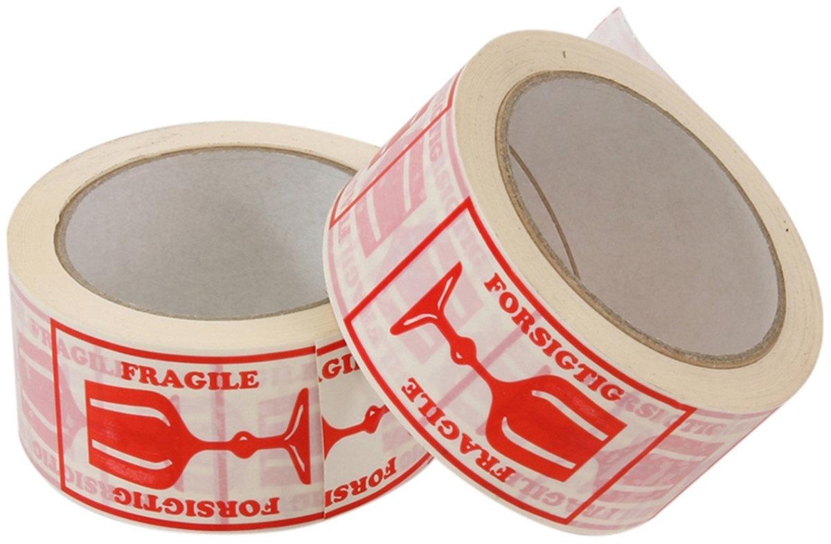 """""""Forsigtig"""" tape, hvid med rødt tryk, 50mm x 66 m"""