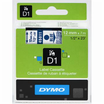 Dymo D1 labeltape 12mm, blå på klar