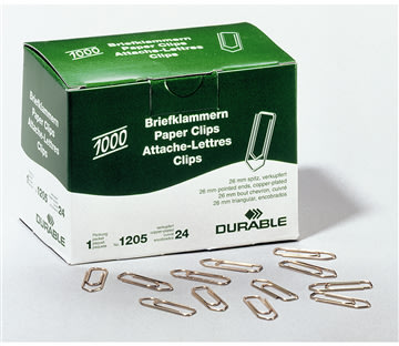 Durable clips kobberfarvede 26mm, 1000stk