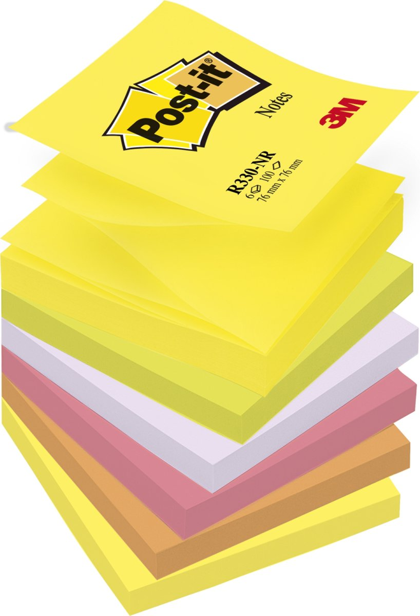 Post-it Z-Notes 76 x 76 mm, neon regnbue