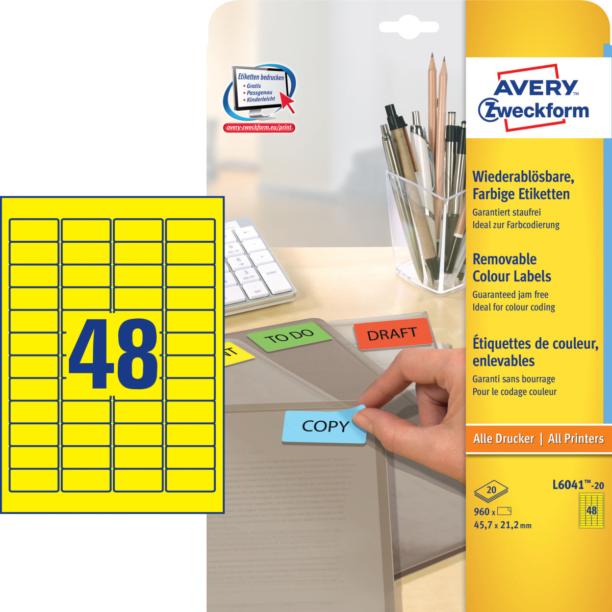 Avery L6041-20 far.etiketter, 45,7 x 21,2mm, gule