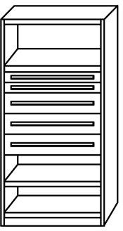 META Clip skab 5 skuffer,200x100x50,Grund,Pulver