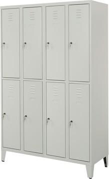 Proff garderobeskab,4x2 rum,Ben,Cylinderlås,Grå