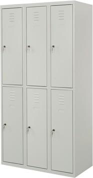 Proff garderobeskab, 3x2 rum,Plan,Cylinderlås,Grå