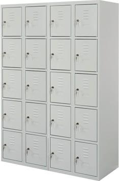 Proff garderobeskab,4x5 rum,Plan,Cylinderlås,Grå