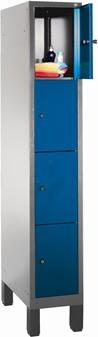 CP garderobeskab, 1x4 rum, Ben,Cylinderlås,Grå/Blå