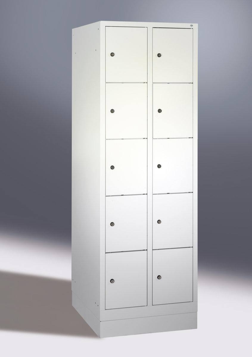 CP garderobeskab,2x5rum,Sokkel,Cylinderlås,Grå/Blå