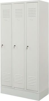 Proff garderobeskab,3x1 rum,Sokkel,Cylinderlås,Grå