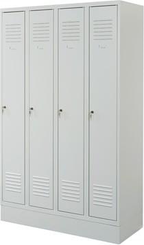 Proff garderobeskab,4x1 rum,Sokkel,Cylinderlås,Grå