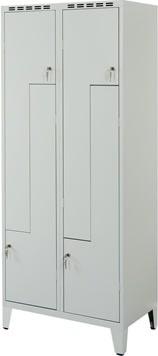 Proff Z-garderobeskab, 2x2 rum, Ben, Cylinder, Grå