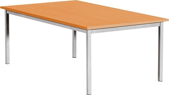 Kantinebord, 180x80 cm, bøg med alufarvet stel