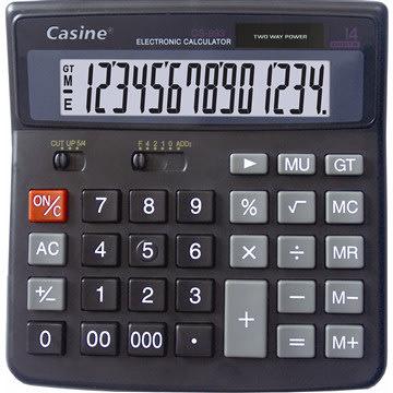 Casine 14-cifret kontor bordregner