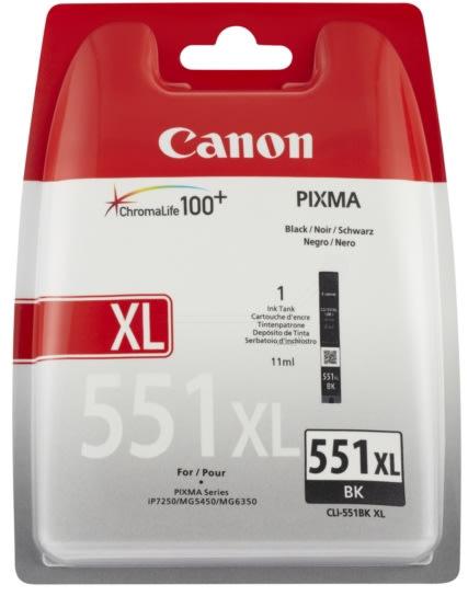 Canon CLI-551 XL blæktank, sort, 11ml