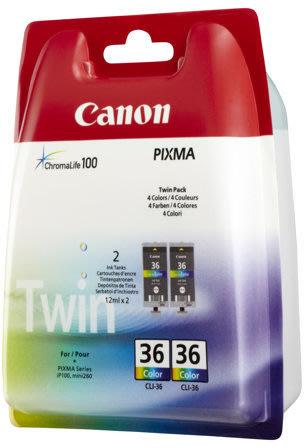 Canon CLI-36 blækpatron, farve, 2.stk