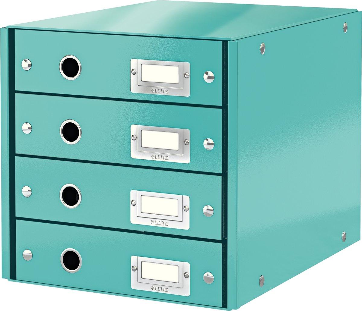 Leitz Click & Store skuffekabinet 4 rum, isblå
