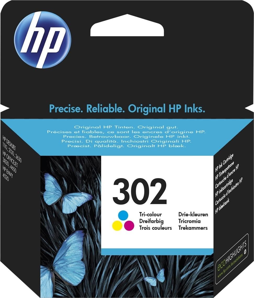 HP nr. 302 blækpatron, farve, blister, 165 s.