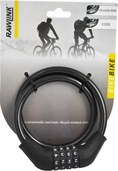 Rawlink cykellås, spiralwire m/ kode