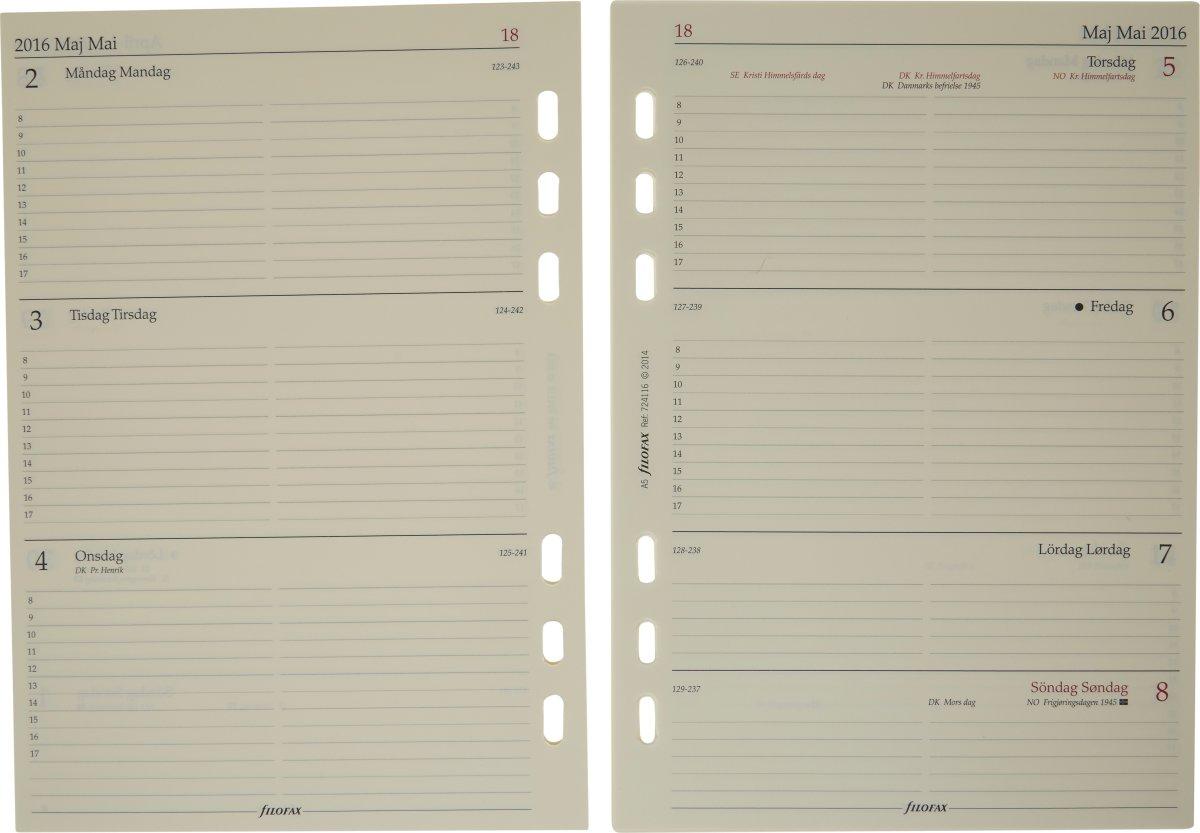 Filofax Metropol 2017 Kalender Zip A5, sort
