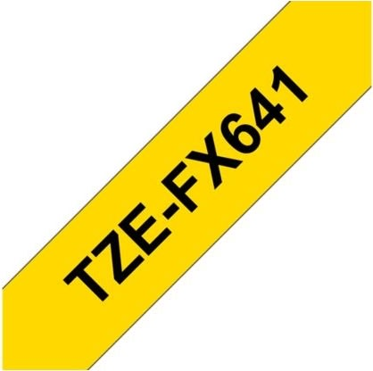 Brother TZe-FX641 labeltape 18mm, sort på gul