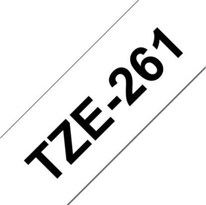 Brother TZe-261 labeltape 36mm, sort på hvid