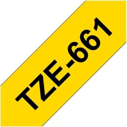 Brother TZe-661 labeltape 36mm, sort på gul