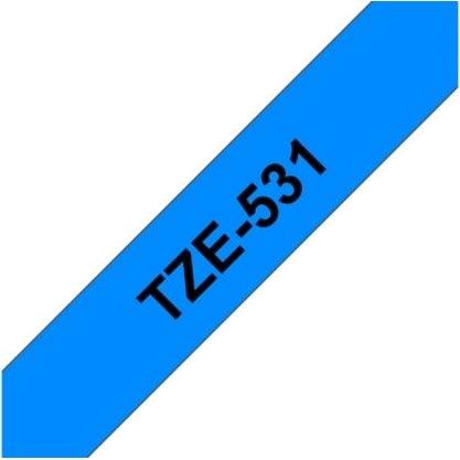 Brother TZe-531 labeltape 12mm, sort på blå