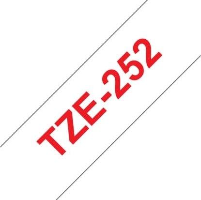 Brother TZe-252 labeltape 24mm, rød på hvid