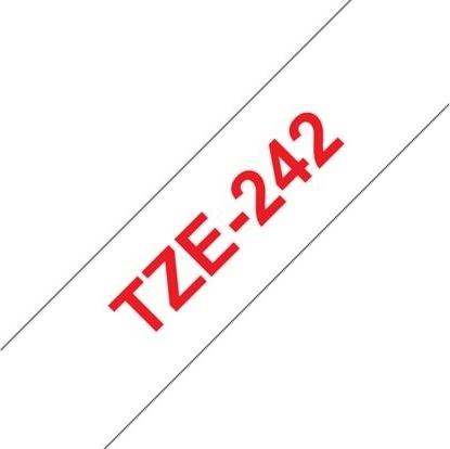 Brother TZe-242 labeltape 18mm, rød på hvid