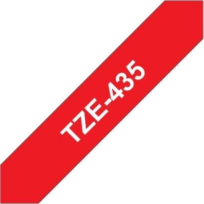 Brother TZe-435 labeltape 12mm, hvid på rød