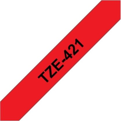Brother TZe-421 labeltape 9mm, sort på rød