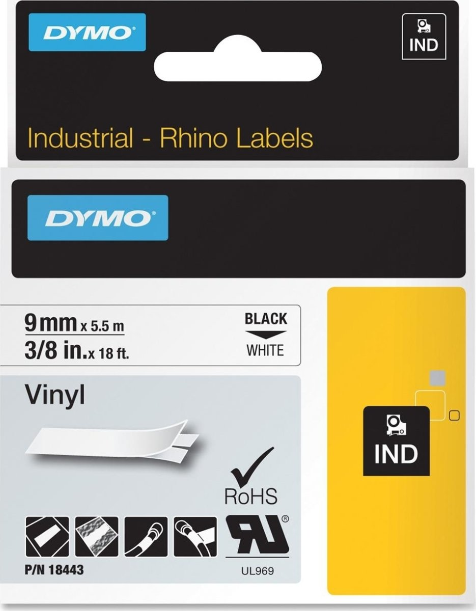Dymo Rhino Vinyltape 9mm, sort på hvid