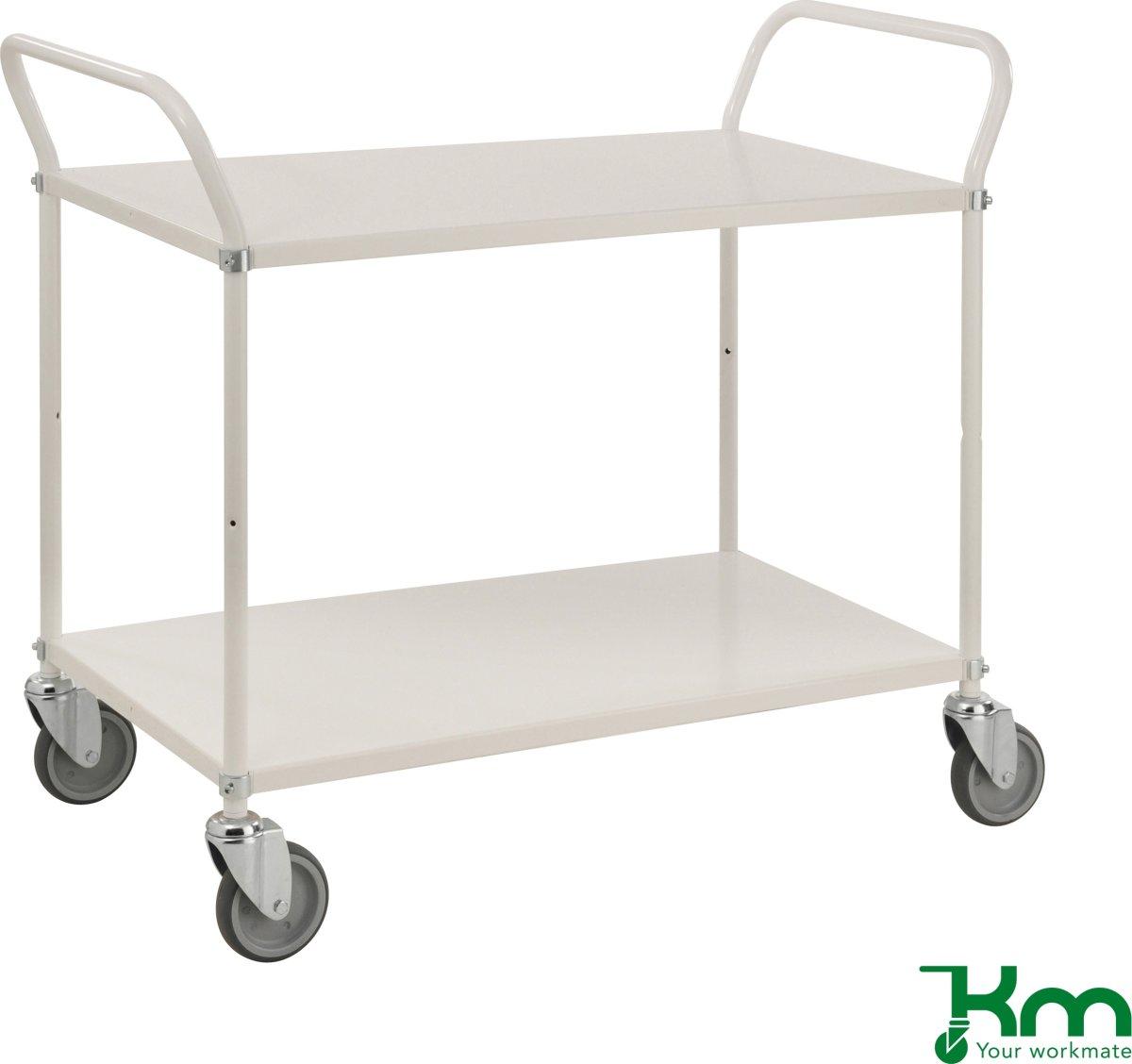 Rullebord 2 hylder, 1070x585x940 mm, 250kg, hvid