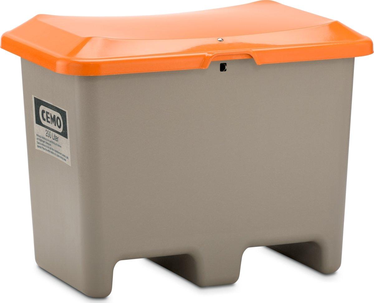 Salt-/sandbeholder 200 L, gaffelåbning, Grå/orange