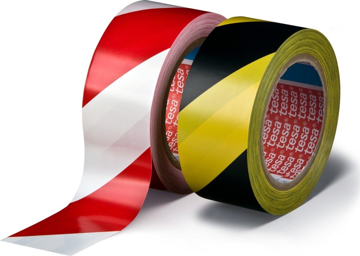 tesa Markeringstape permanent 50 mm, rød/hvid