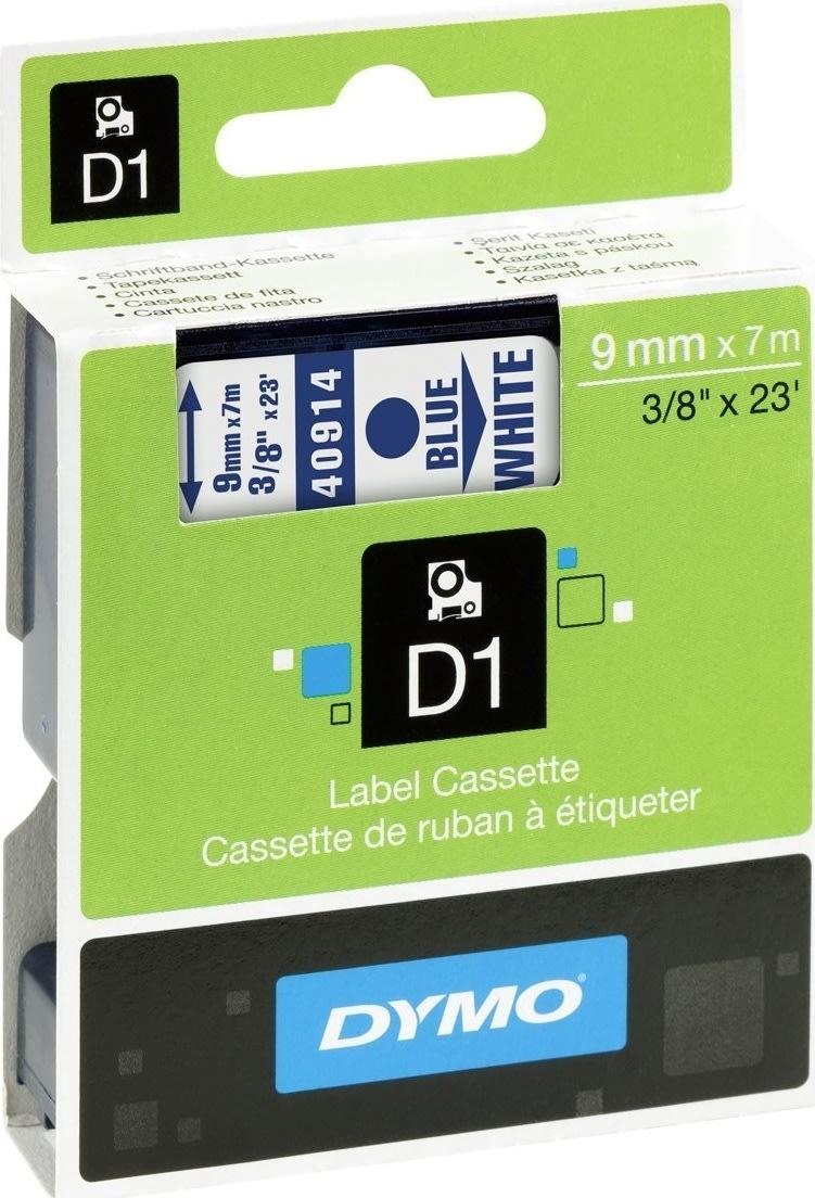 Dymo D1 labeltape 9mm, blå på hvid