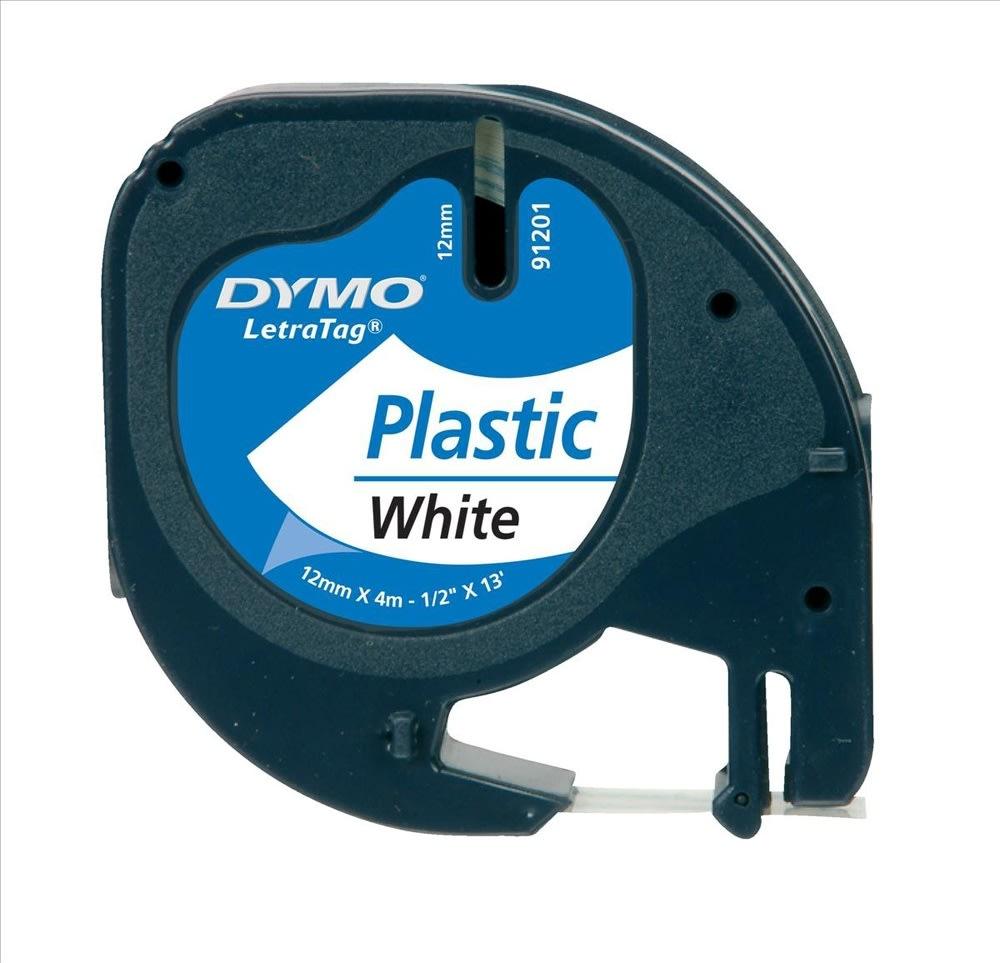 Dymo Letratag labeltape 12mm, sort på hvid
