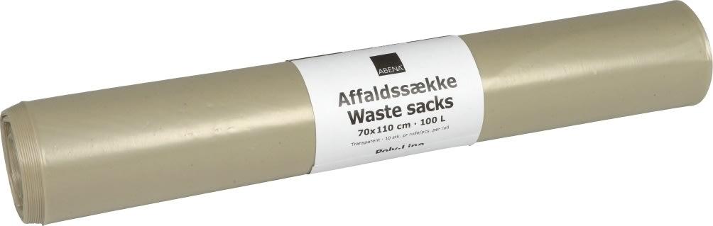 Affaldssække 100 liter, genbrugsplast, klar