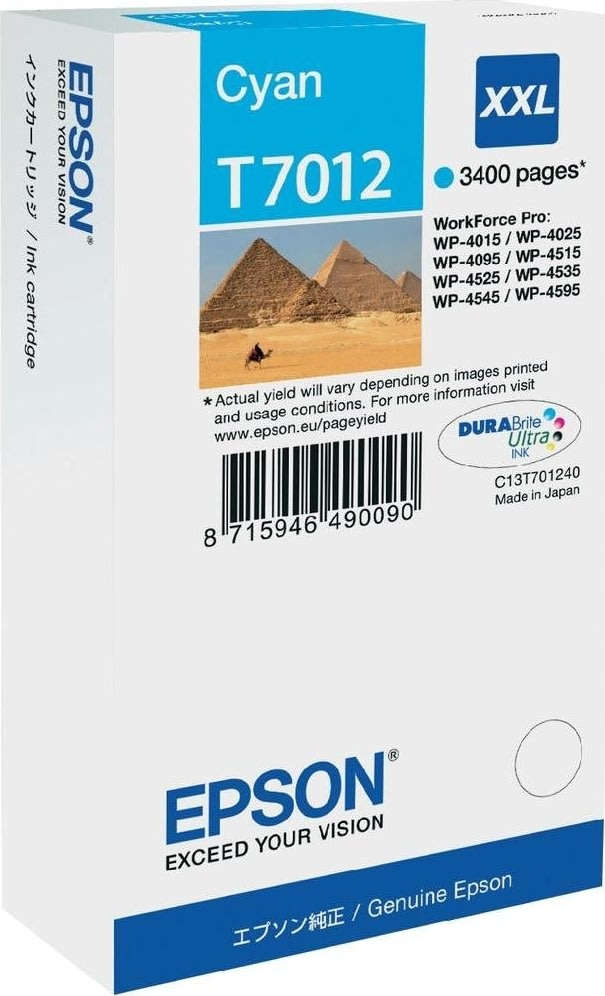 Epson nr.T7012/C13T70124010 blækpatron, blå, 3400