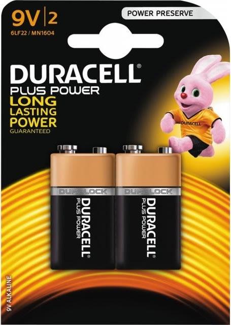 Duracell Plus Power 9V-batterier, pk. m. 2 stk.