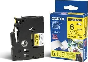 Brother TZe-FX611 labeltape 6mm, sort på gul