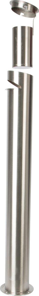 Udendørs askebæger t. fastboltning, børstet stål