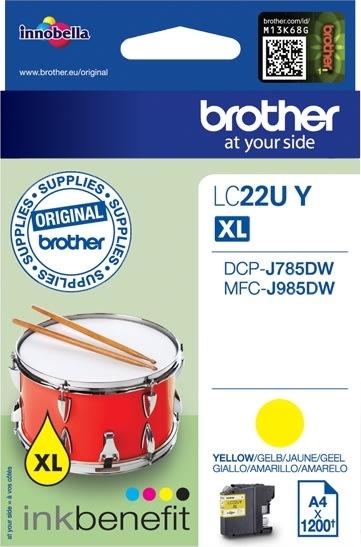 Brother LC22UY XL blækpatron, gul, 1200s