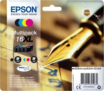 Epson nr.T1636/C13T16364012 blækpatron, XLsampak
