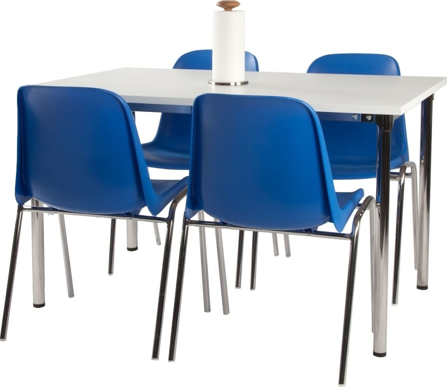 Lena Basic kantinesæt m/4 blå stole og hvidt bord