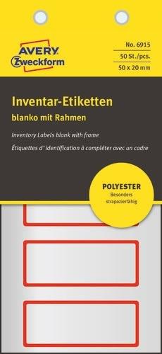 Avery Etiketter til inventar i sølv m/rød ramme