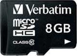 Verbatim 8GB microSDHC class 10 m/adapter