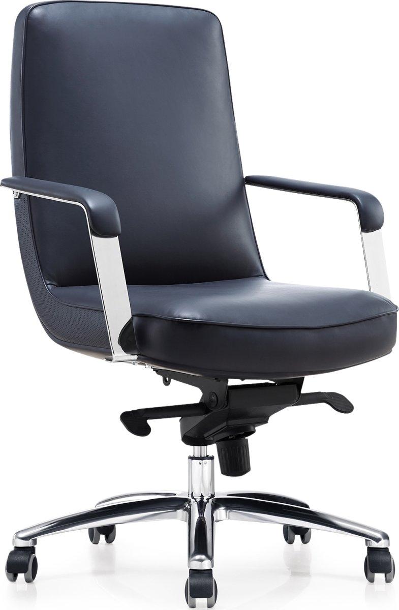 Atlas kontorstol, sort læder