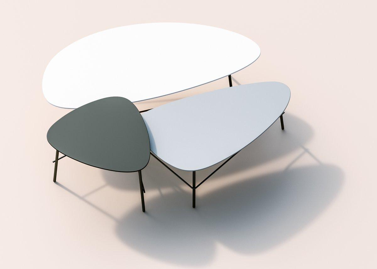 Ziggy lounge/sofabord, 93x50x40 cm, hvid laminat