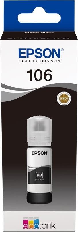 Epson T106 blæktank, foto-sort, 70ml
